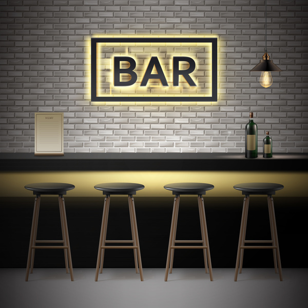 600x600 Bar Interior Design Vector Material Free Download