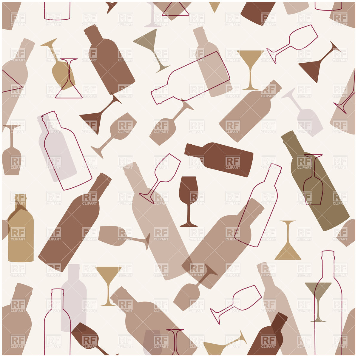 1200x1200 Seamless Bar Background With Wineglasses And Bottles Vector Image