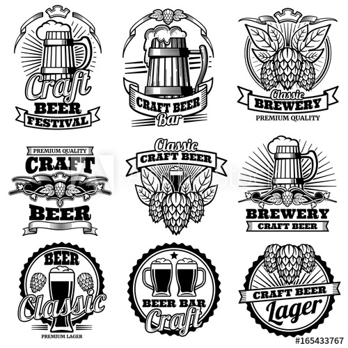 500x500 Vintage Beer Drink Bar Vector Labels. Retro Brewery Emblems And