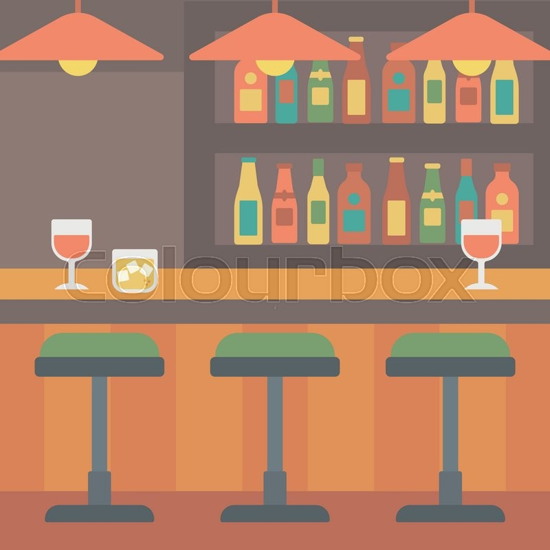 800x800 Background Of Bar Counter With Stools And Alcohol Drinks On