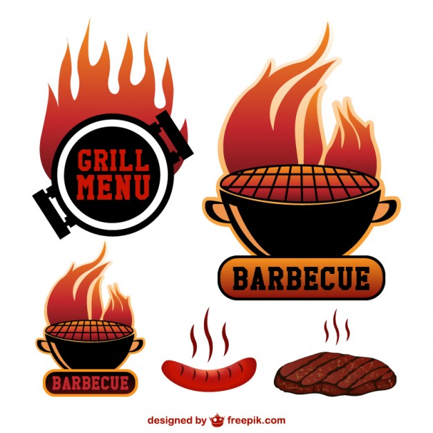 626x626 Barbecue Grill Stickers Vector Free Download