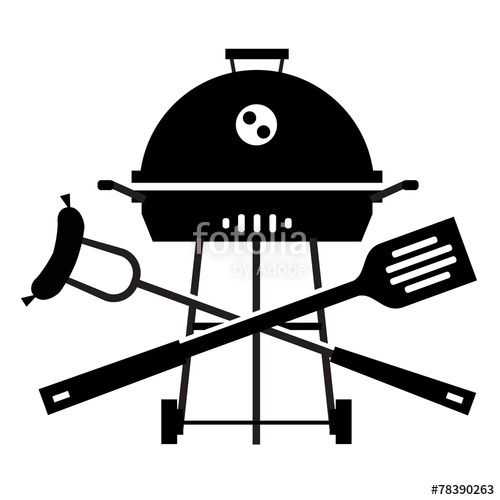 500x500 Bbq Vector Logo Design Template. Grill Or Cooking Icon. Stock