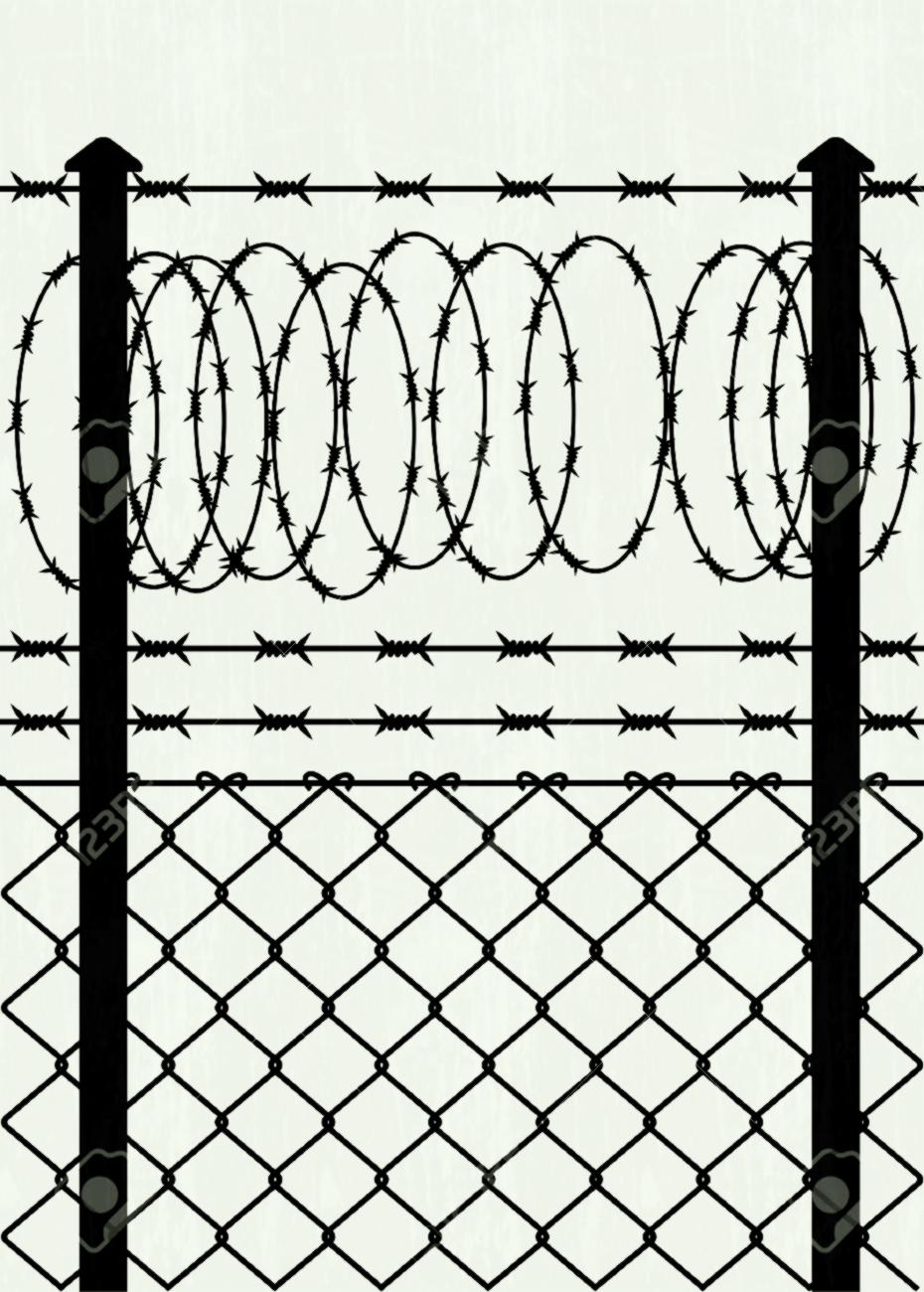 930x1300 Prison Privacy Metal Fence With Barbed Wire Vector Image