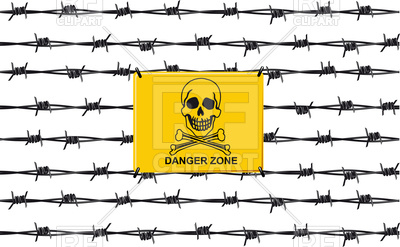 400x247 Stop Sign Danger Zone On Barbed Wire Fence Vector Image Vector