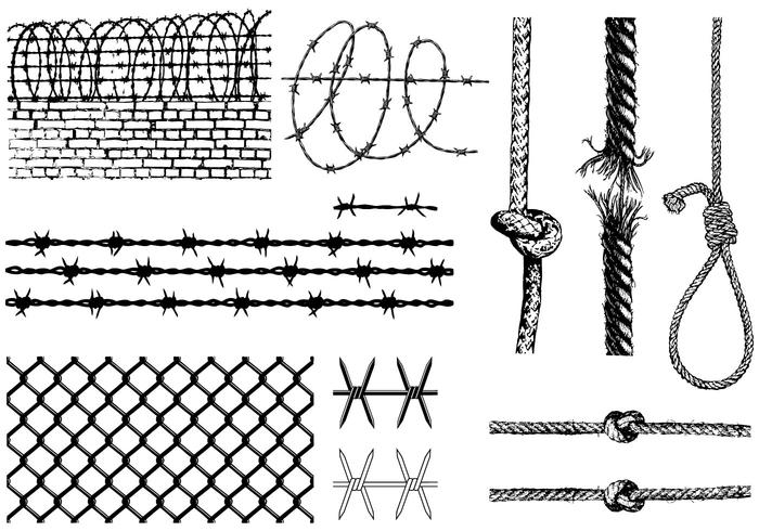 700x490 Barbed Wire And Ropes Vector Pack