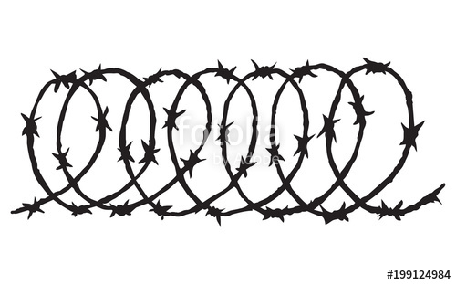 500x311 Barbed Wire. Vector Drawing Stock Image And Royalty Free Vector