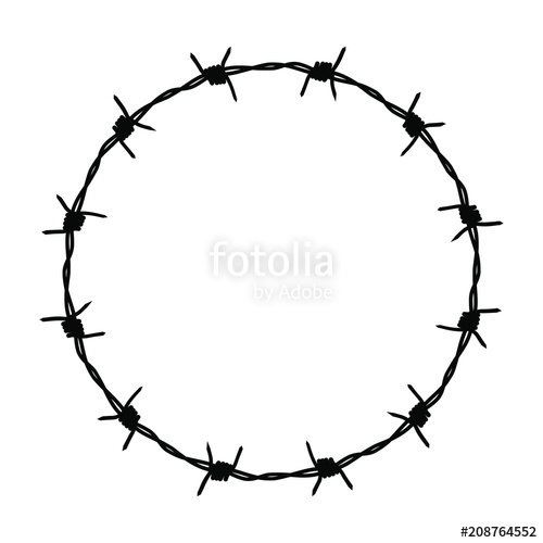500x500 Circle Barbed Wire. A Sign Of Not Freedom. Frame Barbed Wire