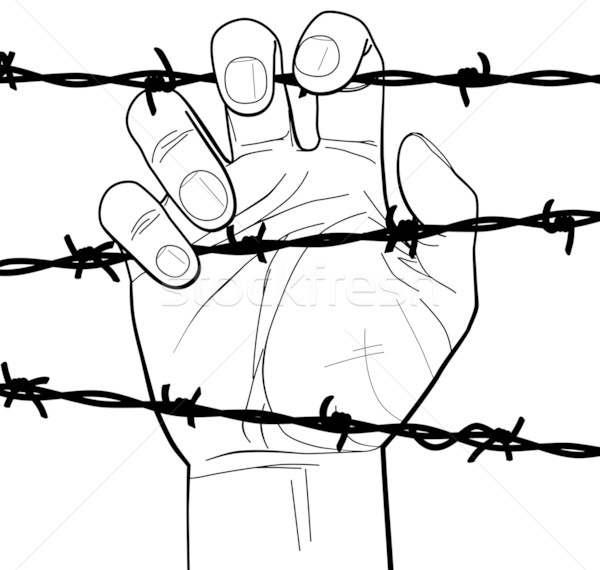 600x570 Closeup Of A Hand On Barbed Wire Vector Illustration Carbouval