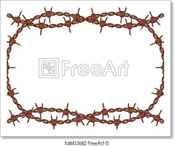 560x470 Free Art Print Of Barbed Wire Frame Vector. Vector Old Rusty