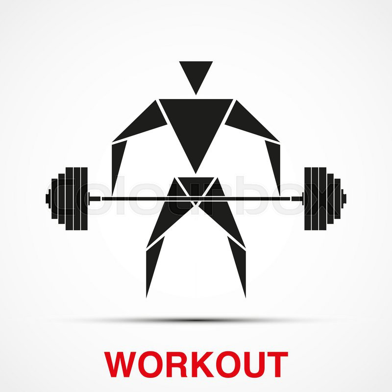 800x800 Workout Logo With Triangle Man And Barbell. Vector Illustration
