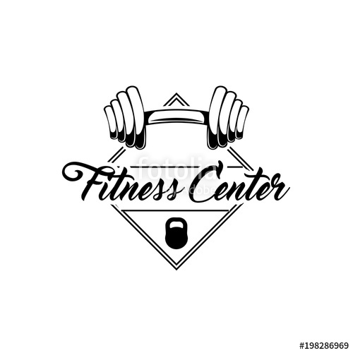 500x500 Barbell Weights. Gym Barbell. Fitness Center Logo Label. Vector
