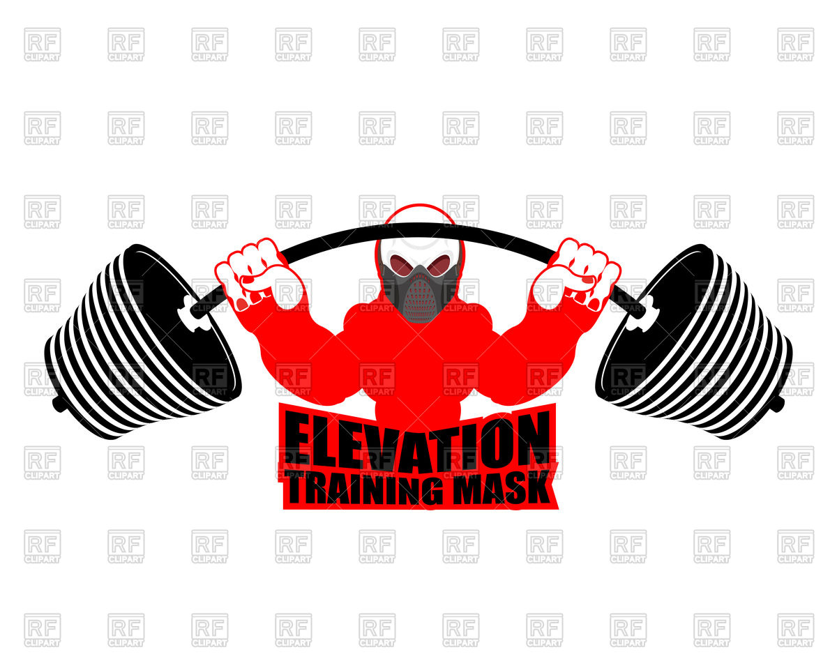 1200x938 Fitness Emblem With Elevation Training Mask And Barbell Vector