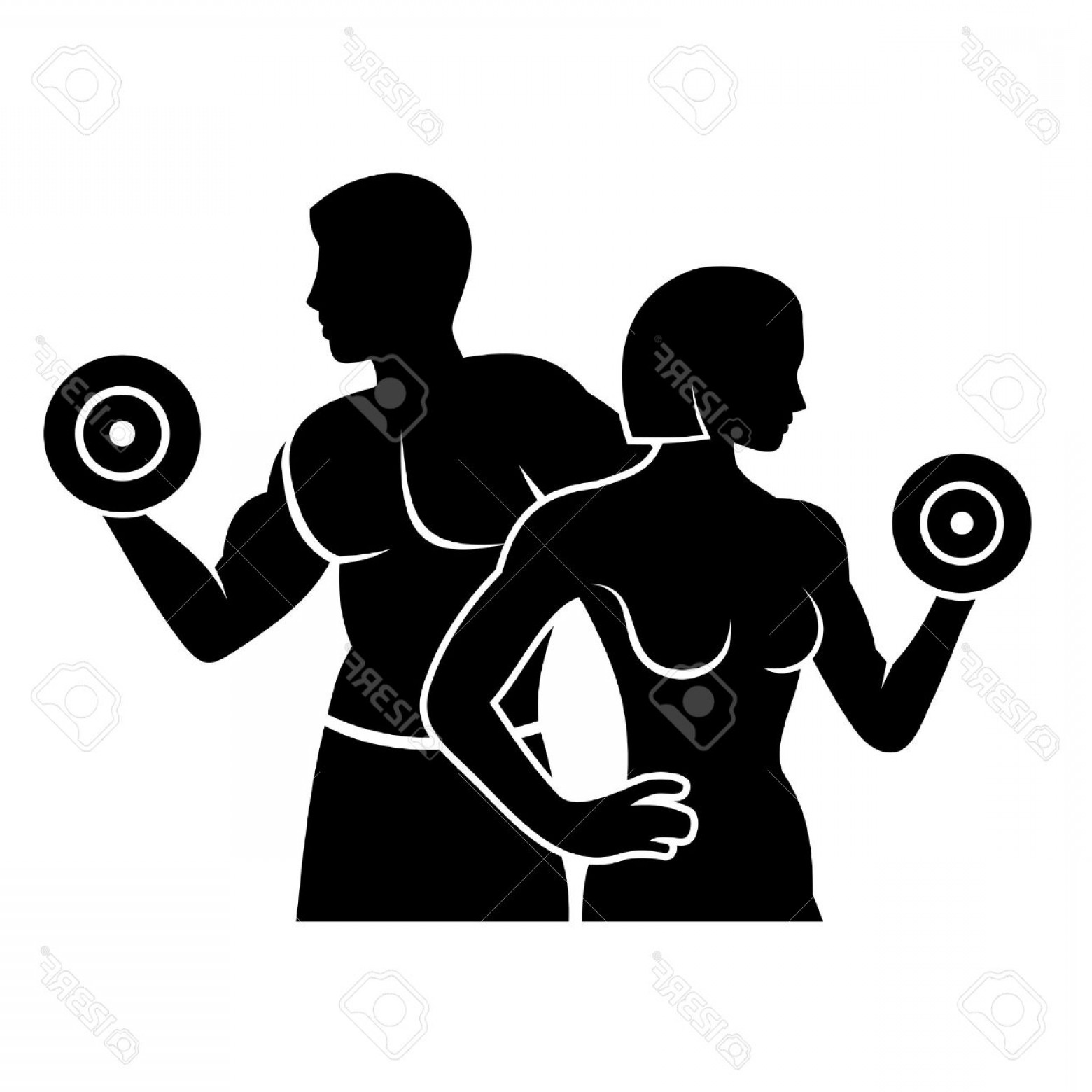 1560x1560 Photostock Vector Man And Woman Fitness Silhouette Vector Logo