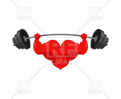 400x326 Strong Heart And Barbell Vector Image Vector Artwork Of Sport