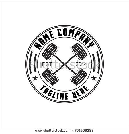 450x470 Barbell Vector For Fitness Logo Template Logo Designs