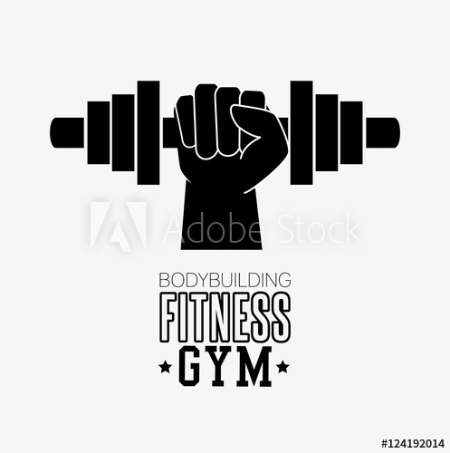 497x500 Bodybuilding Fitness Gym Hand Hold Barbell Vector Illustration Eps