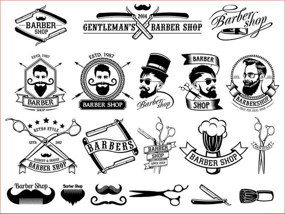 570x428 Barber Shop Vector Collection Beard Moustache Razor Svg Cdr Etsy
