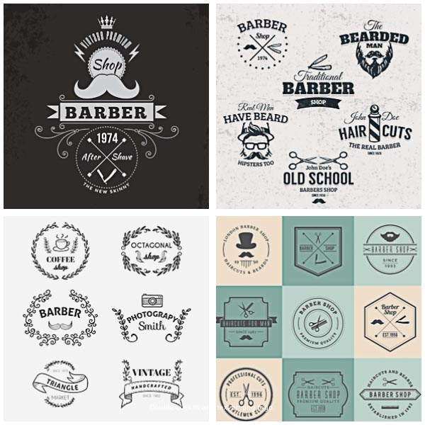 600x600 Barber Shop Vector Badges Amp Logos Set Free Download