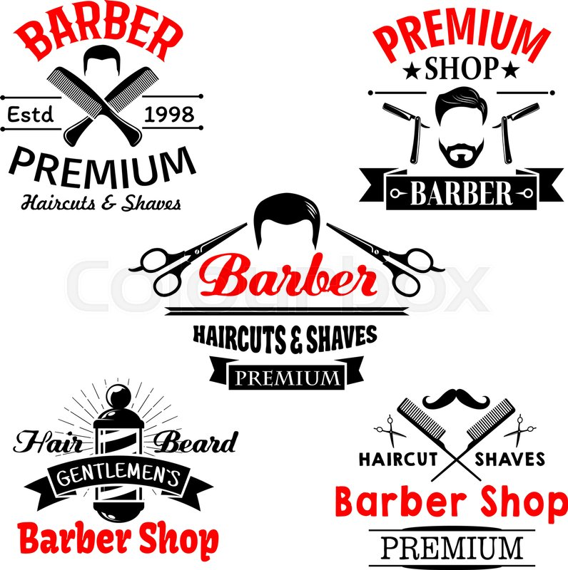 796x800 Barber Shop Vector Icons Set. Symbols Of Man Beards And Mustaches