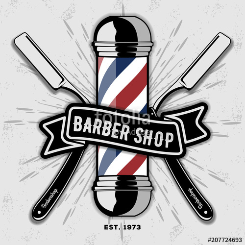 500x500 Barber Shop Vector Vintage Label, Badge, Or Emblem On Gray