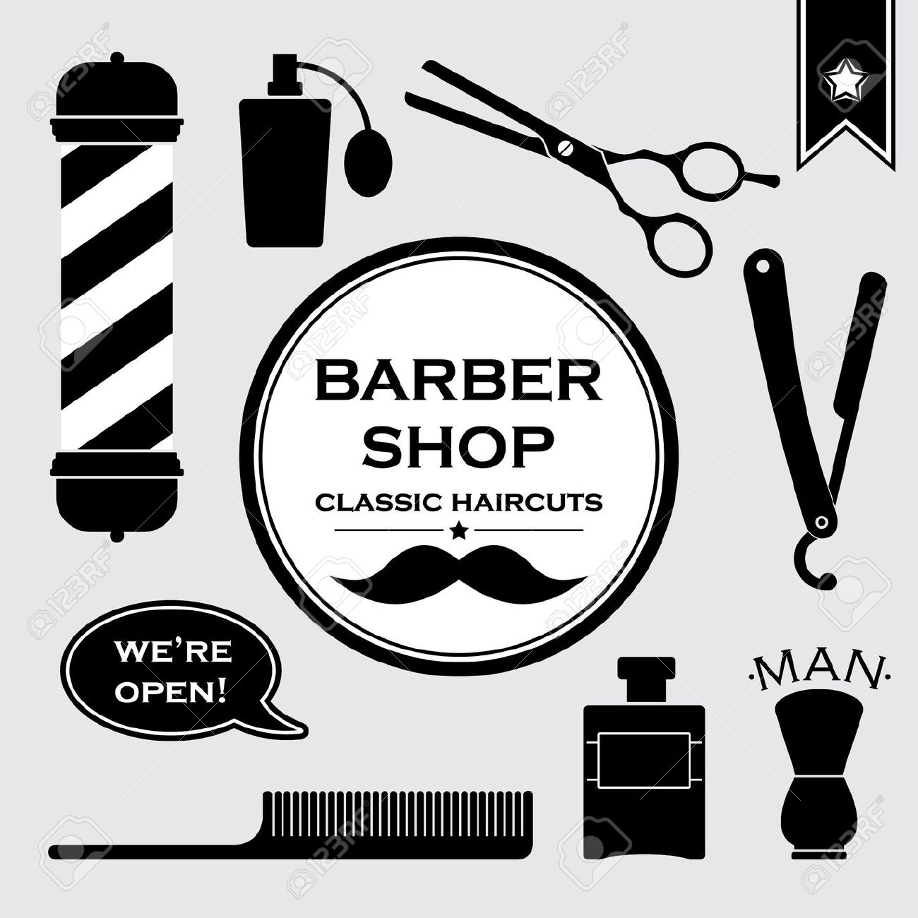 1300x1300 Collection Of Vintage Barber Shop Clipart High Quality, Free