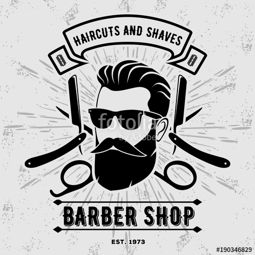 500x500 Barber Shop Vintage Label, Badge, Or Emblem On Gray Background