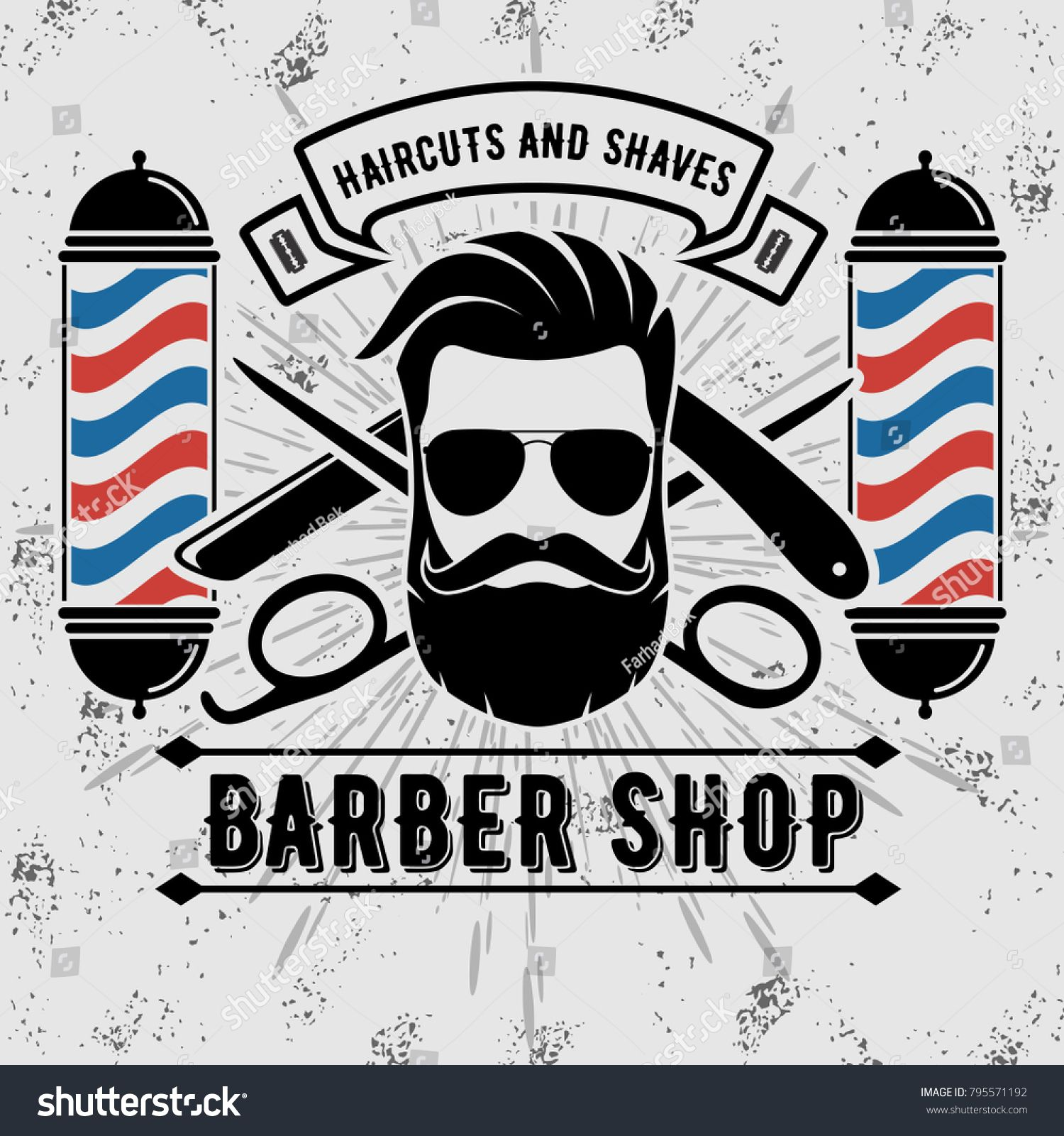 1500x1600 Barbershop Logo With Barber Pole In Vintage Style. Vector Template