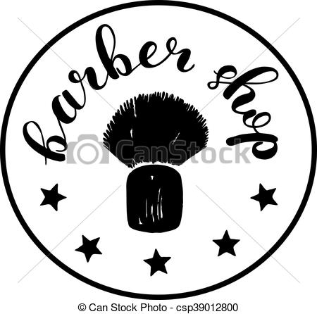 450x446 Brush Lettering Label For Barber Shop With Hand Drawn Shaving