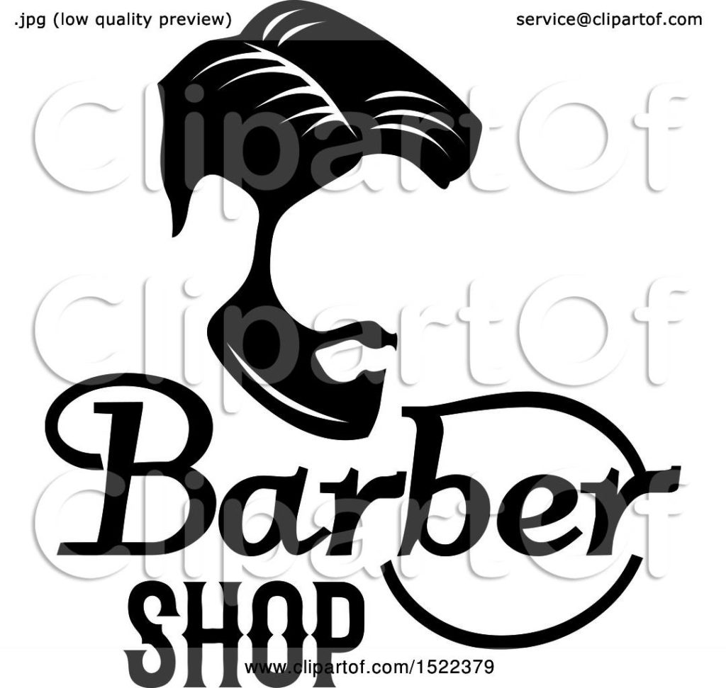 1024x971 Clipart Of A Black And White Barber Shop Design Royalty Free