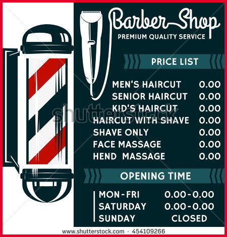 450x470 Haircut Price 237863 Barber Shop Vector Price List Template