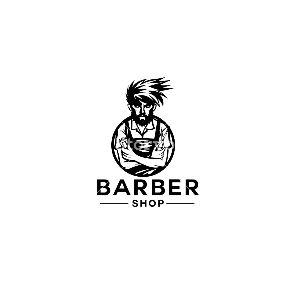 1000x1000 Minimal Logo Of Barber Shop Vector Illustration Royalty Free Stock