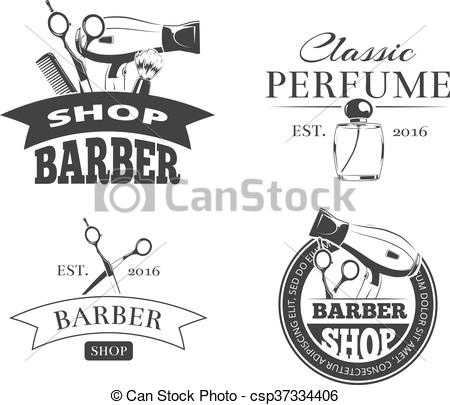 450x405 Retro Barber Shop Vector Label Set. Retro Barber Shop Vector