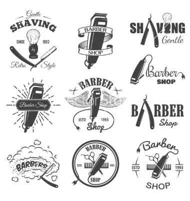 380x400 Second Set Of Vintage Barber Shop Emblems Vector By