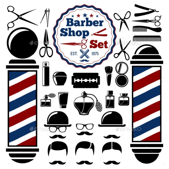 590x590 Vector Barber Shop Accessories Set By Tashal Graphicriver