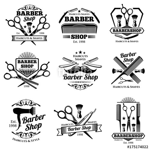 500x500 Vintage Barbershop Vector Emblems And Labels. Barber Badges And
