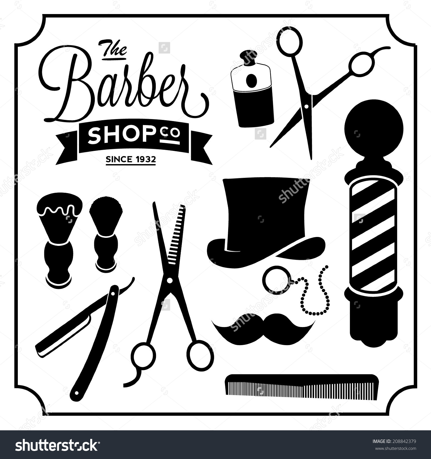 1500x1600 Barber Shop Borders Clipart