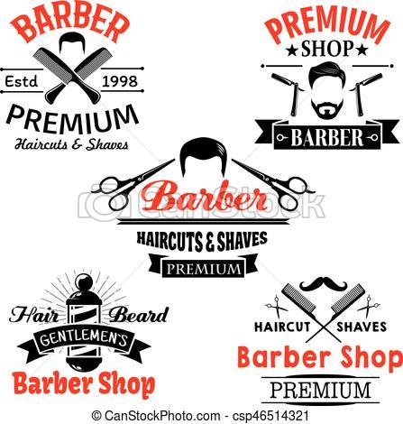 447x470 Barber Shop Premium Salon Vector Icons Set. Barber Shop Vector