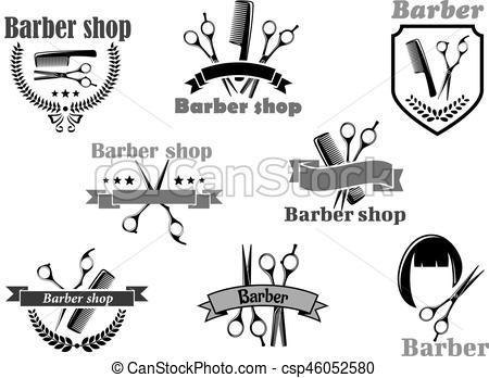 450x348 Barber Shop Vector Icons Set Templates. Barber Shop Or Hairdresser