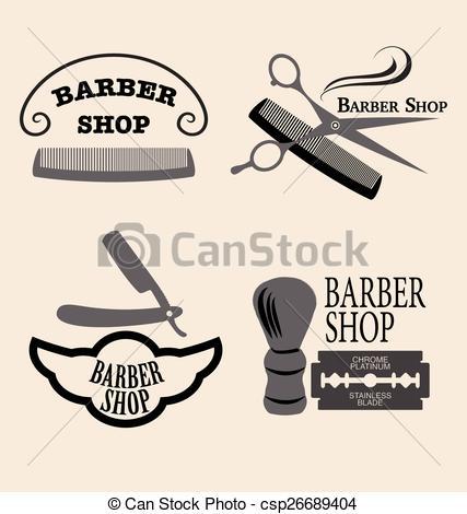427x470 Barber Shop. Vector Set Of Vintage Barber Shop Emblems.