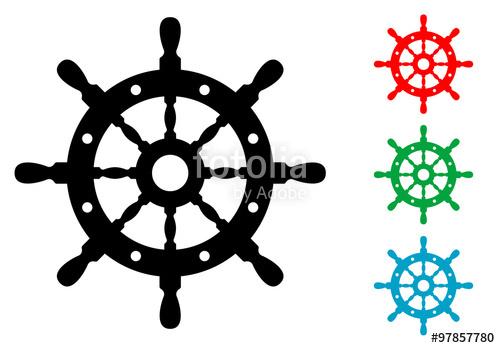 500x348 Icono Plano Timon De Barco En Varios Colores