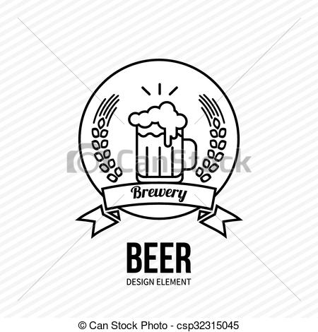 450x470 Beer And Barley Vector Emblem. Glass Of Beer Icon On White