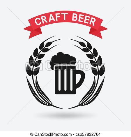 450x470 Craft Beer Banner. Mug Of Beer And Ears Of Barley. Vector