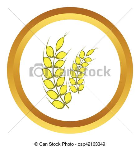 450x470 Two Stalks Of Ripe Barley Vector Icon In Golden Circle, Cartoon