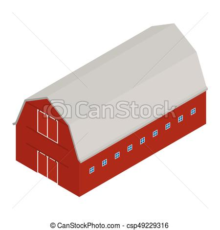 450x470 Old Red Barn. Vector Illustration Isometric 3d Perspective Old Red