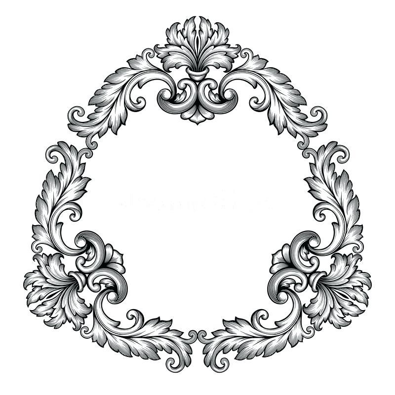 800x800 Ornate Design Download Vector Vintage Baroque Frame Scroll Ornate
