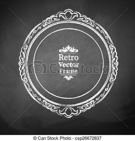 450x470 Vintage Baroque Frame. Round Chalked Vintage Baroque Frame.