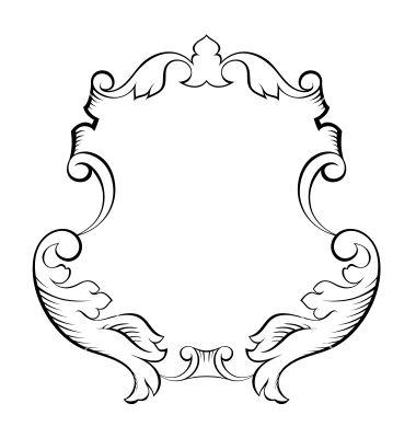 380x400 Baroque Architectural Ornamental Decorative Frame Vector Fabric