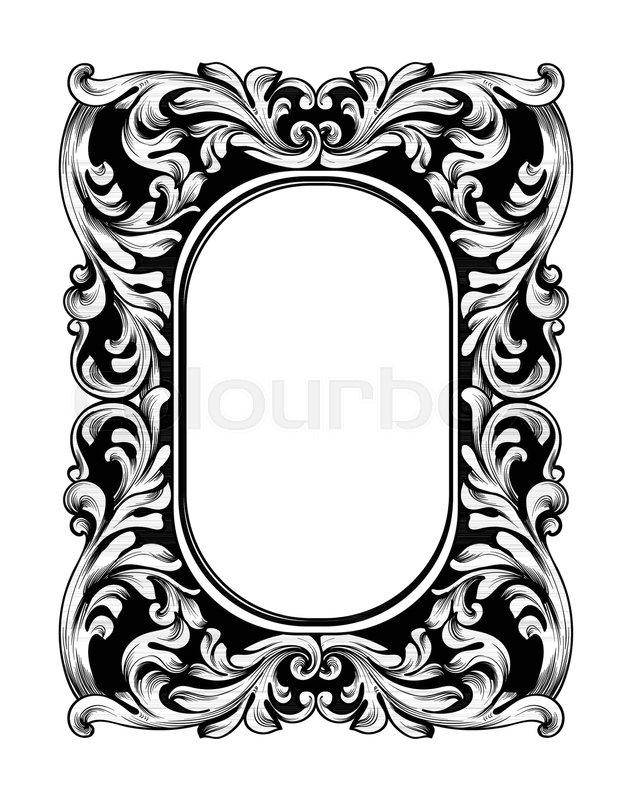 631x800 Baroque Mirror Frame. Vector Imperial Decor Design Elements. Rich