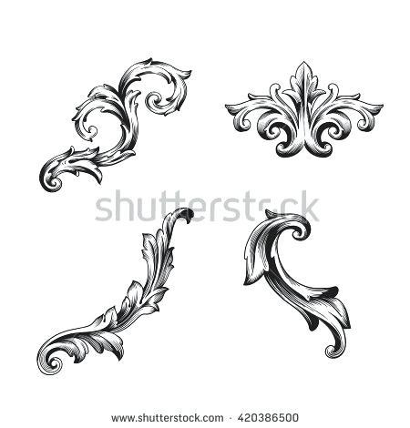 450x470 Baroque Design Design Elements Baroque Curves One Color Vector