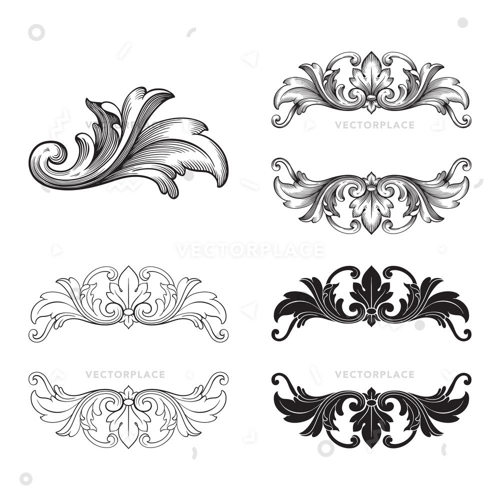 1000x1000 Classical Baroque Set Vintage Elements For Vector Illustration